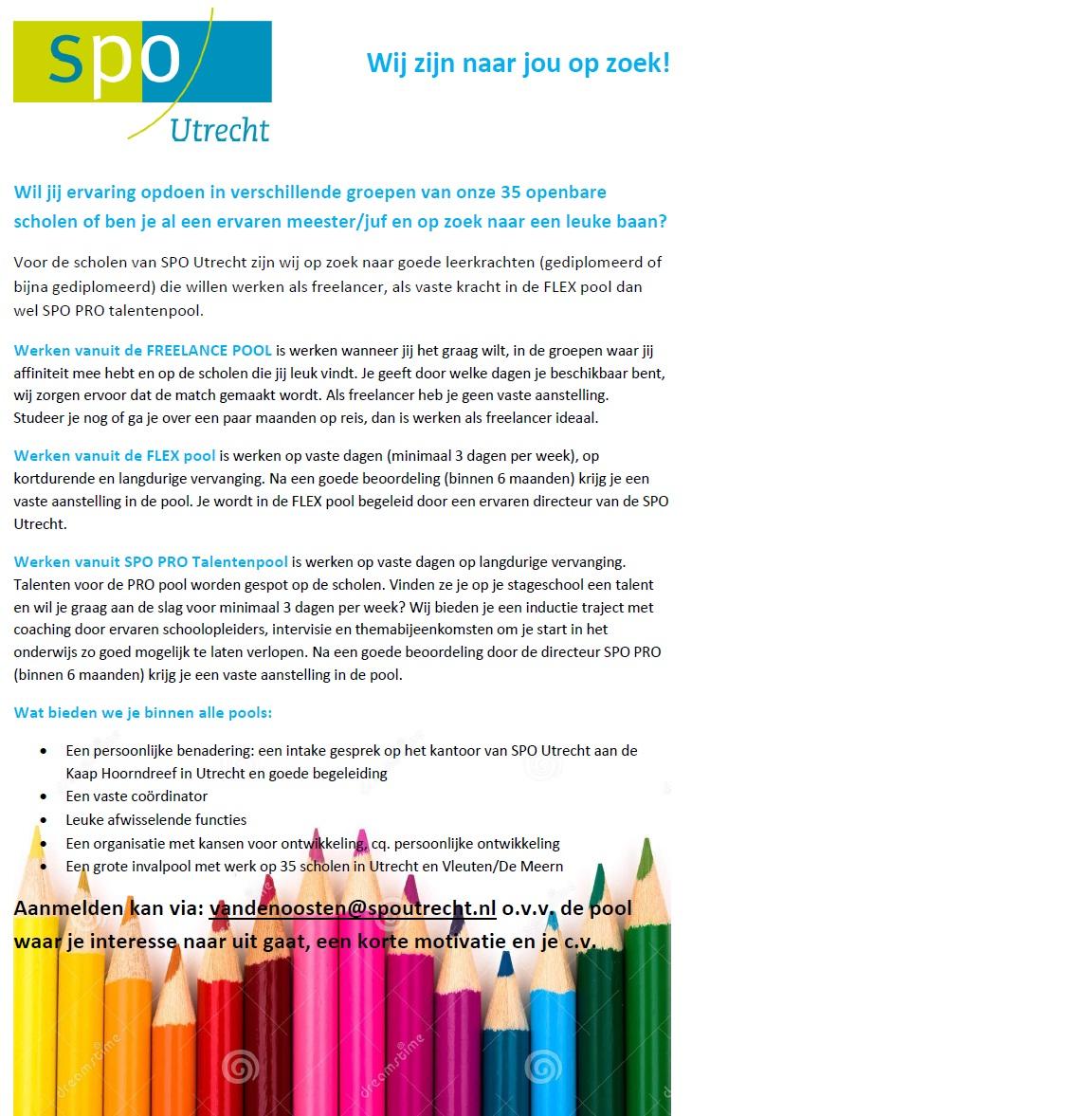 SPO | SPO Utrecht | Vacatures | Op zoek naar een baan voor de klas?: spoutrecht.nl/vacatures/op-zoek-naar-een-baan