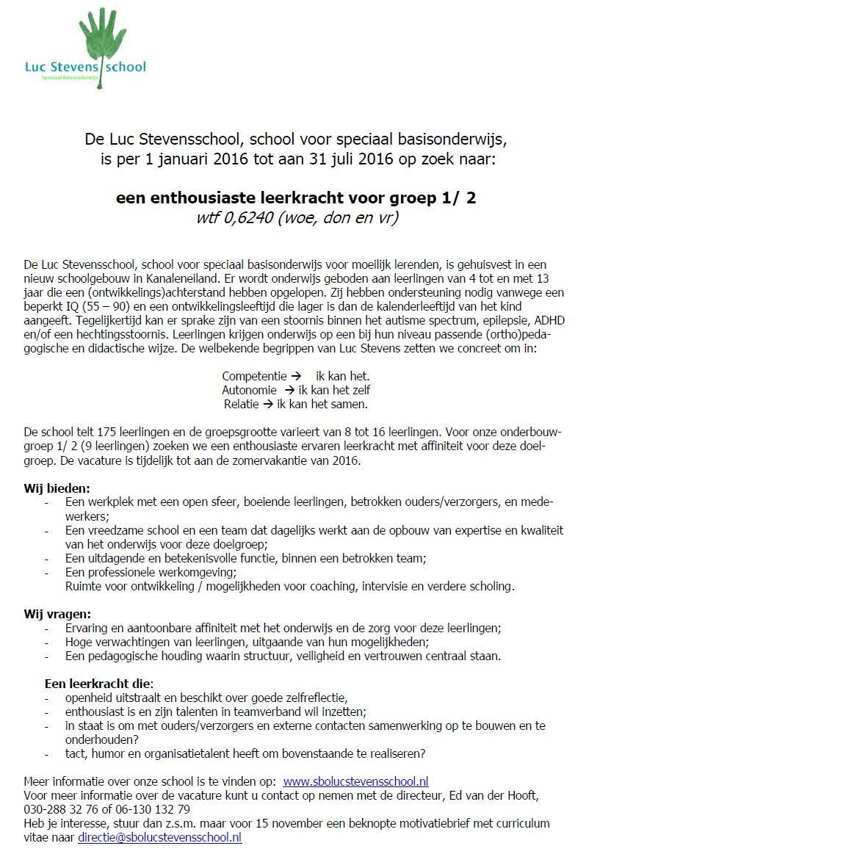 | Vacatures | De Luc Stevensschool, school voor speciaal onderwijs ...: spoutrecht.nl/vacatures/de-luc-stevensschool-school-voor-speciaal...